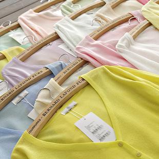 夏季冰丝超薄长袖针织衫开衫女短款防晒衣空调小披肩外搭外套