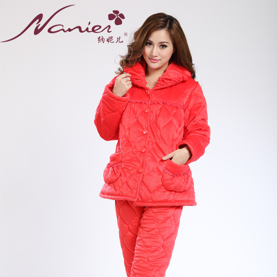 Three thick quilted winter coral fleece warm flannel pajamas women tracksuit red cardigan suit lapel