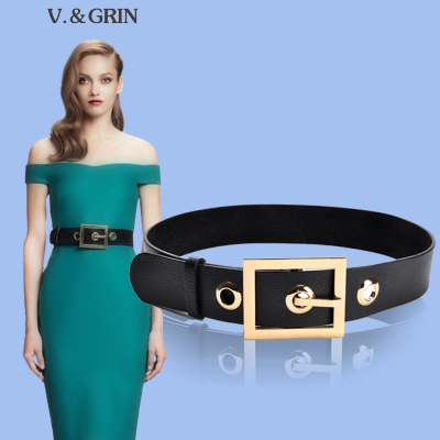 vgrin ultra high-end leather wide belt leather belt girdle Ms. Korean wild influx of European and American decorative fashion