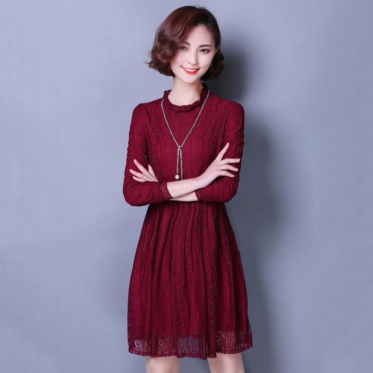 新款加绒蕾丝衫大码连衣裙秋冬款