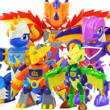 The original clever dragon warrior 2 full set of dragon warrior deformation toys, children's educational toys assembled toy