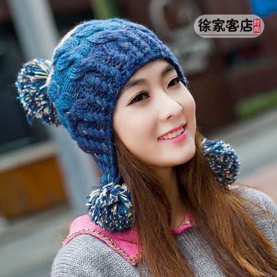 Winter hat female Korean tidal cute knitted hat female winter days, Ms. ear hat fashion wool cap