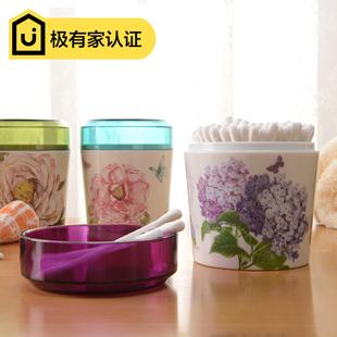 希尔 欧式创意仿陶瓷棉签盒  透明盖棉签筒化妆锦盒