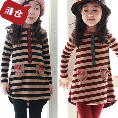 13 the new spring clothing South Korean girls children brand children's wear authentic thin cotton long sleeve skirt Joker long T-shirt