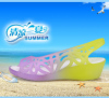2017糖果拼色坡跟凉鞋洞洞鞋女 舒适中跟塑料鱼嘴沙滩凉鞋子