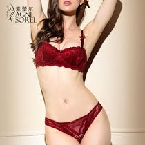 索蕾尔性感大红色本命年蕾丝文胸套装 薄款舒适聚拢收副乳内衣