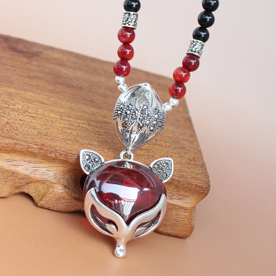 Garnet natural opal pendant sweater chain Thai silver fox fox retro big pendant necklace wild female long