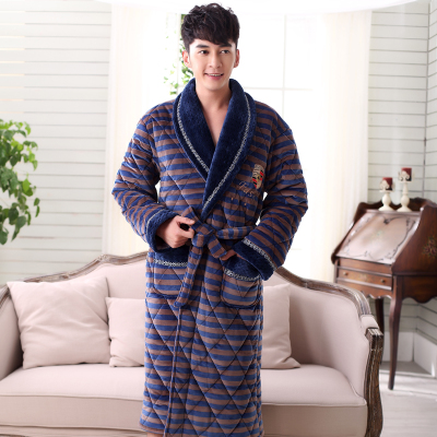 Autumn and winter men's triple thick coral velvet pajamas Babe velvet quilted robe bathrobe longer special promotions