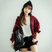 韩国春stylenanda复古格纹长袖衬衫女BF宽松格子衬衣oversize大码