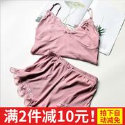 睡衣女夏套装短袖两件套 家居服吊带背心可外穿2件套蕾丝边短裤