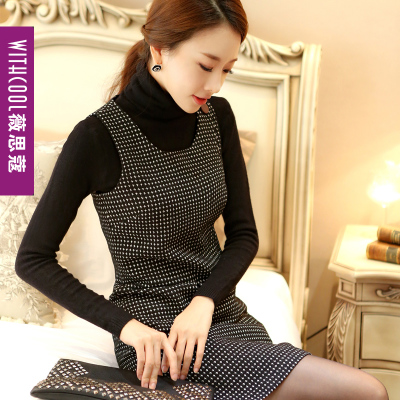 Hitz large size women's autumn and winter woolen dress Korean version was thin sleeveless bottoming Houndstooth Dress
