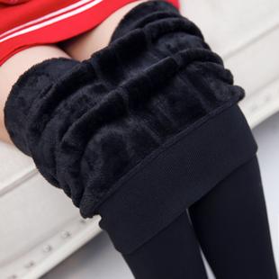 秋冬加厚打底裤加绒外穿高腰大码女裤黑色小脚长裤踩脚保暖裤冬季