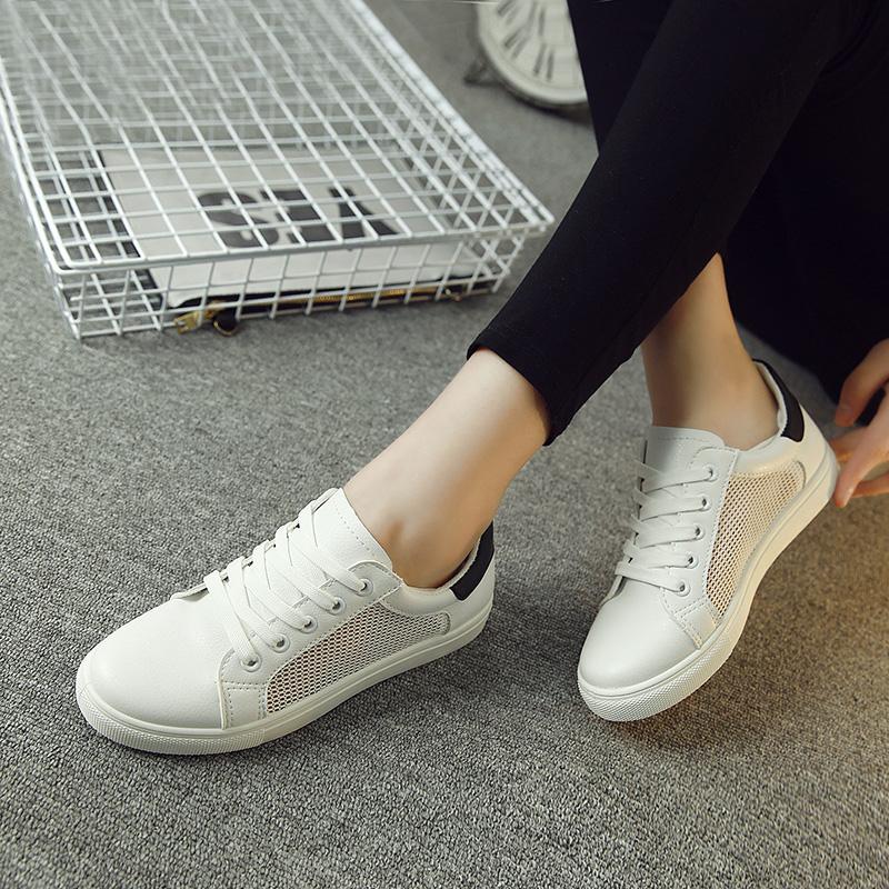 女式小白鞋运动鞋板鞋2016春夏季新款韩版休闲透气系带平底单鞋子
