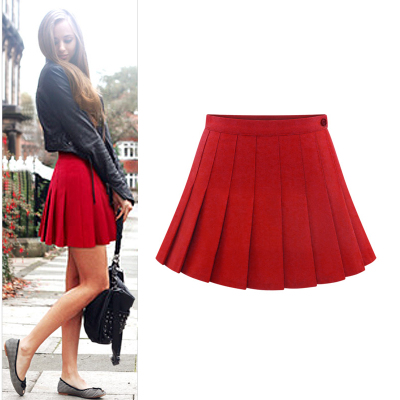 Elephant hair mushroom buttons side skirts pleated skirt solid wild new women's autumn and winter 2014