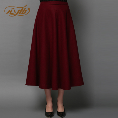 2014 new fall and winter clothes in the thick woolen skirt waist A-line dress put on a large influx of women skirts skirt