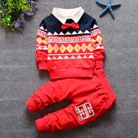 2016秋季 新款套装婴儿宝宝纯棉长袖假两件纯色卫衣童装