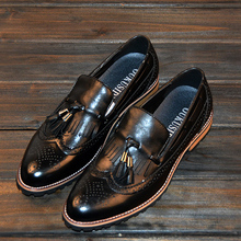 The new 2015 Europe and the United States on woodwork pointed tassel slip-on shoes really Men's fashion tide British leisure shoes