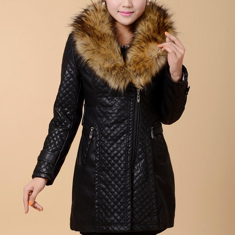 Одежда для дам Осень/зима 2014 новых долго складной кожаный большого среднего возраста матери в середине и старые возрасте женщин одежда и хлопок мыть кожаную куртку