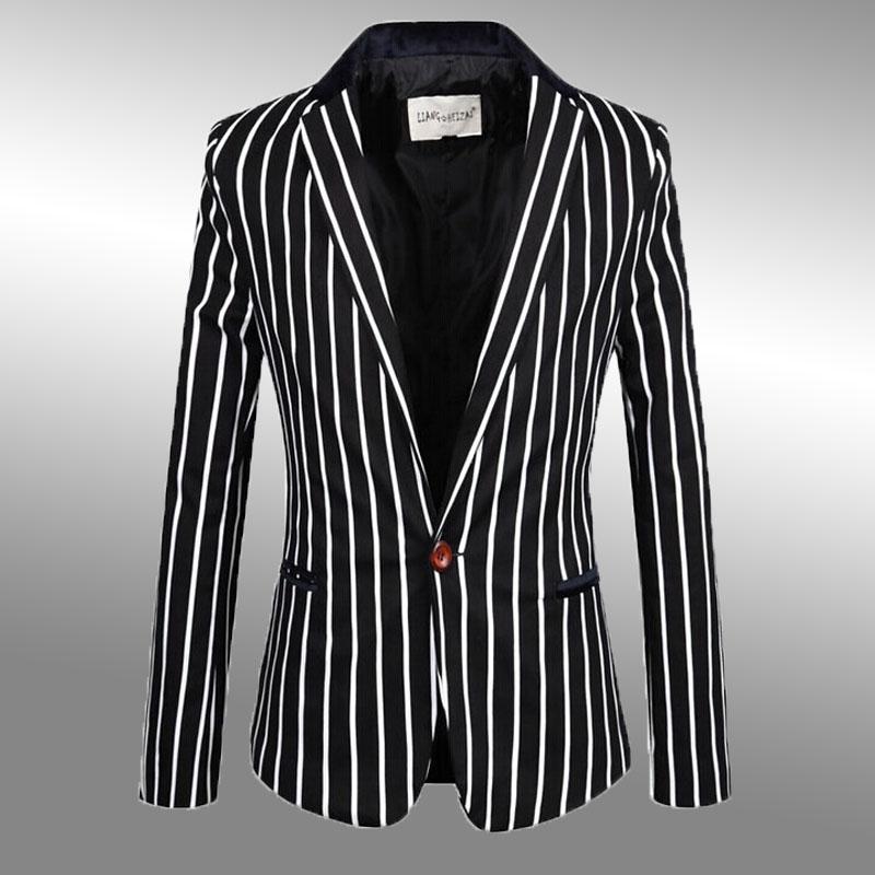 秋冬新款 精品斑马纹西服男韩版修身黑白竖条纹西装 潮男款外套