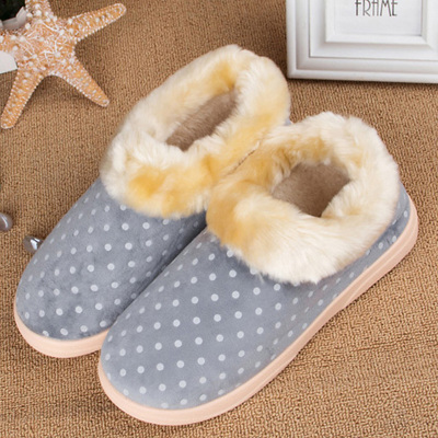 velutluna winter new Japanese Polka Dot Shorthair male cotton-padded shoes warm home slippers cotton slippers