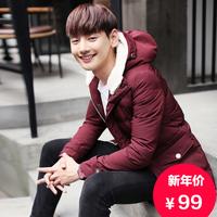 2015秋冬新款男士韩版修身棉衣 青少年中长款保暖外套 男加厚棉服