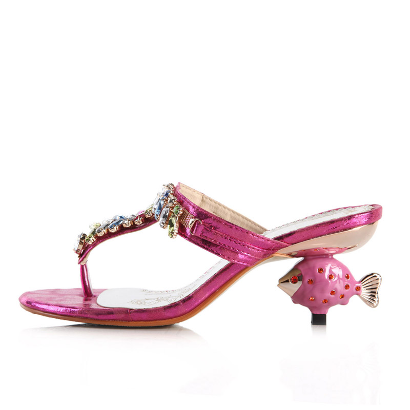 [Kvoll] rose red satin T26525 hollow diamond pattern decorative fish with thong sandals and slippers in