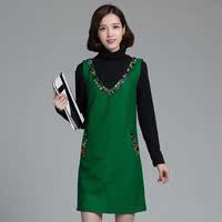 秋冬季新款 韩版气质钉珠镶钻无袖背心裙羊毛针织毛呢连衣裙大码