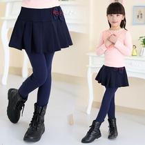 童装女童打底裤儿童裤裙加绒加厚韩版假两件女孩长裤纯色外穿裤子