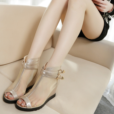 2015 spring new life theme mesh fish mouth Roman shoes slope with waterproof sandals sexy women shoes