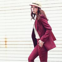 预售款2014秋冬新款女装韩版条纹个性时尚职业休闲西装套装