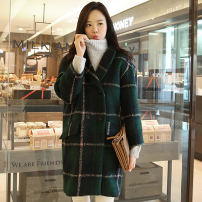 2014 Korean version of the fall and winter thick green plaid wool coat woolen coat jacket female temperament coat it
