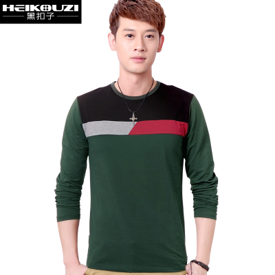 Black buttons autumn and winter 2014 Korean version of casual long-sleeved T-shirt men's t-shirt cotton round neck t-shirt bottoming shirt tide male