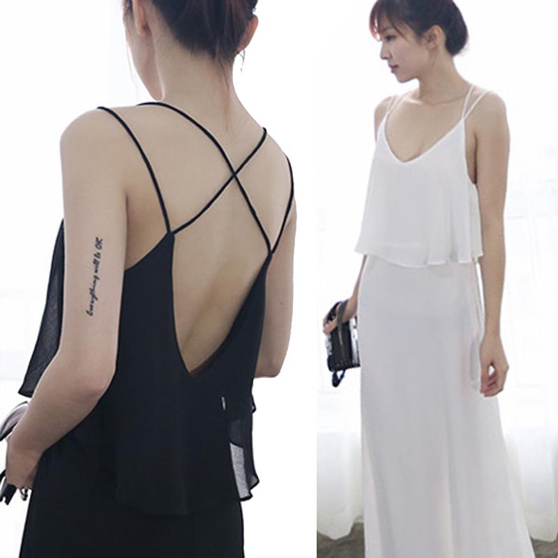 Глубокий v-погоны обратно крест сексуальный недоуздок двойной слой шифоновое платье с воланами лямки платья пляжного отдыха