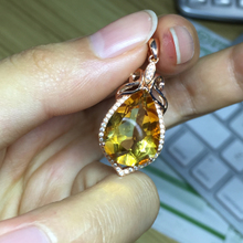 Writers home: top topaz drop pendant All net flash large particles 925 sterling silver pendant