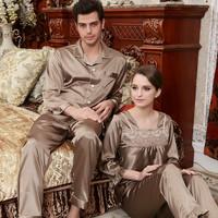 秋冬睡衣情侣长袖丝质睡衣套装女式两件套大码男士家居服丝绸品牌