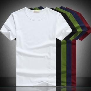 男士短袖T恤纯棉打底衫纯色纯黑纯白圆领夏季秋衣服潮流