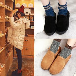 情侣款面包鞋真皮低帮雪地靴男女平底短筒靴保暖棉鞋靴子秋冬2018