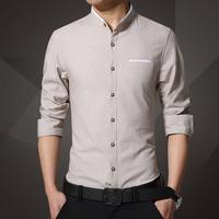 衬衫先生春装新款男士长袖衬衫韩版修身青年纯色大码免烫休闲衬衣