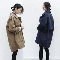 2016新款秋装外套 韩版休闲双排扣风衣女中长款宽松显瘦上衣