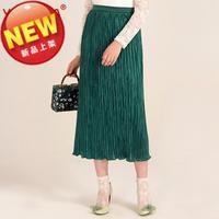 春秋新品高圆圆同款复古风琴褶修身中长款半身裙墨绿色高腰裙子