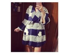 2015新款地叔叔韩版高端茧型彩色格子羊毛呢外套大衣女中长款厚