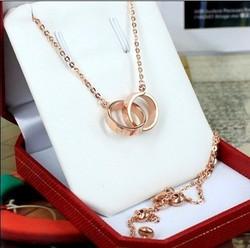卡地亚项链代购正品 18K玫瑰金吊坠LOVE双环锁骨女款项链现货