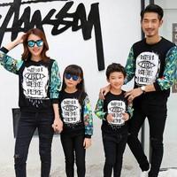 休闲度假亲子装秋装2016新款全家装韩版母女父子一家三口长袖卫衣