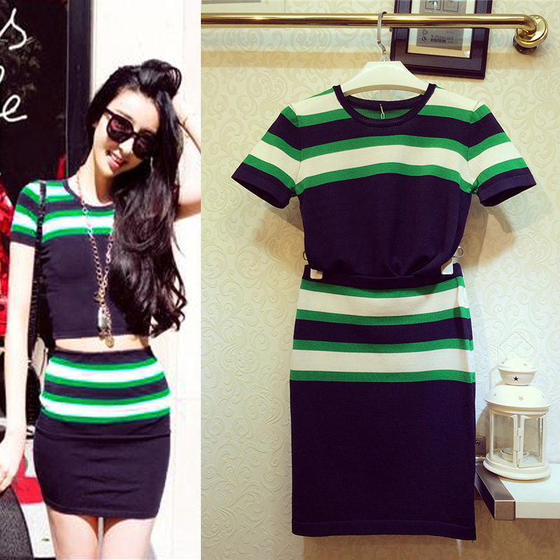 包邮韩国代购韩版条纹修身AA复古风针织衫弹力包臀裙两件套女套装