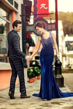 Fall 2014 new studio photography lovers pictorial theme wedding fashion han edition blue tail