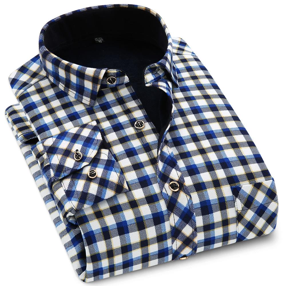 新款男装冬季保暖加绒加厚衬衫双面绒中年长袖格子韩版衫衣爸爸装