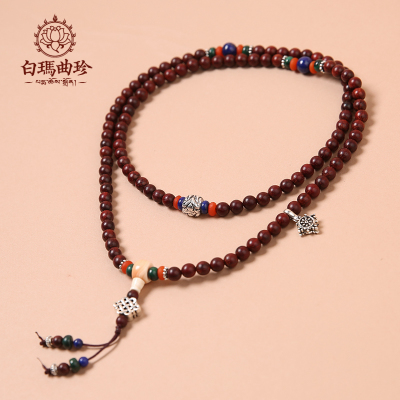 Jennifer White Maqu Indian old material lobular red sandalwood grain of 108 wild Tibetan rosary bracelet couple bracelets