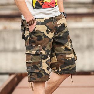 夏季迷彩裤男士短裤7分裤男中裤工装裤五分马裤宽松多口袋潮