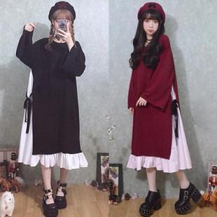 萝莉大码仙女秋季日系软妹打底假两件套长款可爱学生洛丽塔连衣裙