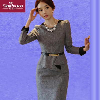 2014 new winter long-sleeved woolen dress fake two big yards thick woolen skirt bottoming female professional suits